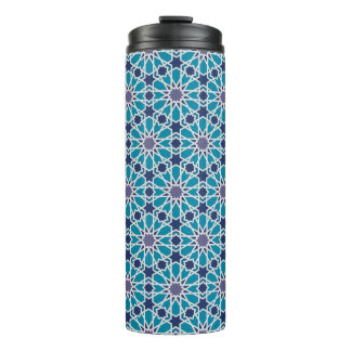 Abstract Pattern In Blue And Grey Thermal Tumbler