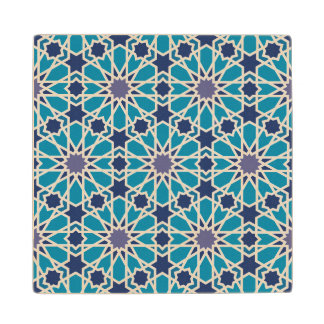 Abstract Pattern In Blue And Grey Wood Coaster