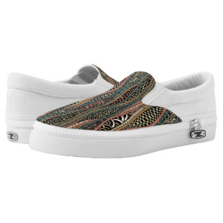 Abstract pattern in ethnic style slip on shoes