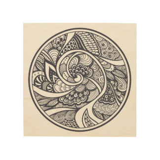 Abstract Pattern In Zen-Doodle Style 5 Wood Wall Decor