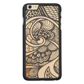 Abstract Pattern In Zen-Doodle Style Carved Maple iPhone 6 Plus Case