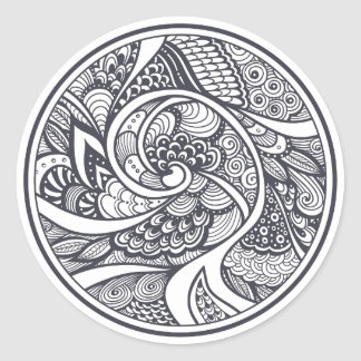 Abstract Pattern In Zen-Doodle Style Classic Round Sticker