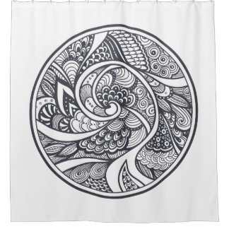 Abstract Pattern In Zen-Doodle Style Shower Curtain