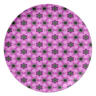 Abstract Pattern Lilac And Dark Gray Background Party Plates