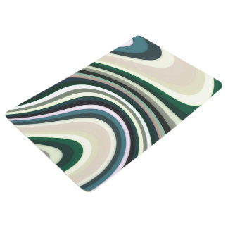 Abstract Pattern Lines Green White And Cream Floor Mat