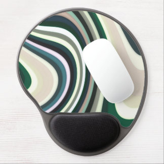 Abstract Pattern Lines Green White And Cream Gel Mouse Pad