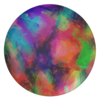Abstract Pattern Multi Color Background Dinner Plate