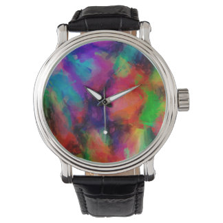 Abstract Pattern Multi Color Background Watch