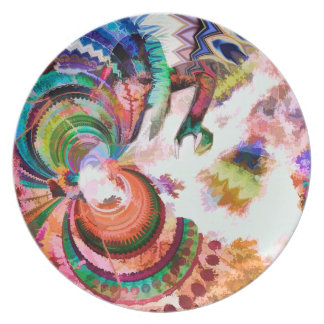 Abstract Pattern Multi Color Design Dinner Plates