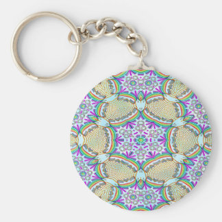 Abstract Pattern Multi Color Tile Basic Round Button Key Ring