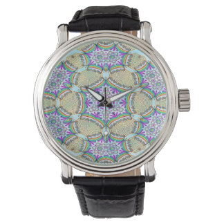 Abstract Pattern Multi Color Tile Watch