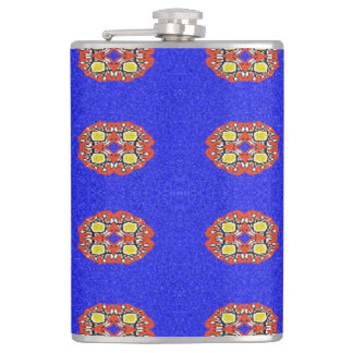 Abstract pattern on blue background hip flask