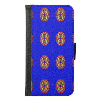Abstract pattern on blue background samsung galaxy s6 wallet case