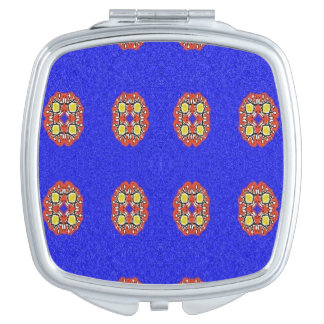 Abstract pattern on blue background travel mirror