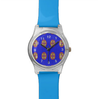 Abstract pattern on blue background watch