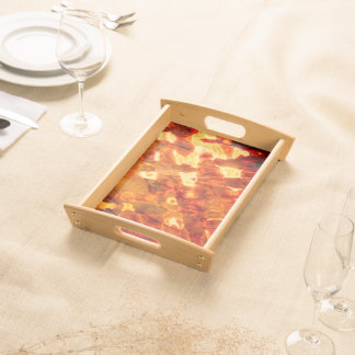 Abstract Pattern Orange Light Effe Serving Tray