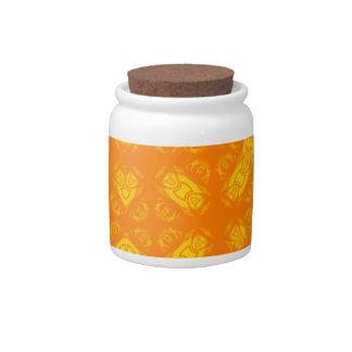 Abstract Pattern orange yellow Candy Jar