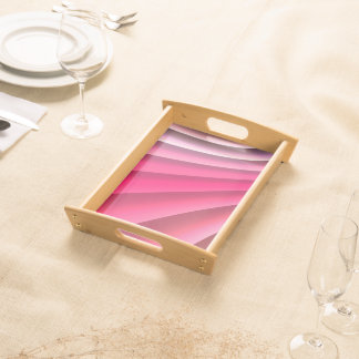 Abstract Pattern Pink Wave Serving Tray