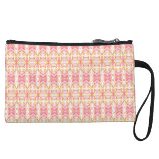 ABSTRACT PATTERN PINK & YELLOW Mini Clutch Wristlet Clutches