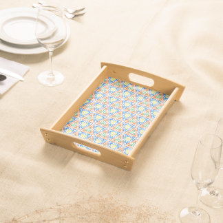 Abstract Pattern Pretty Blue Red And Yellow Serving Tray