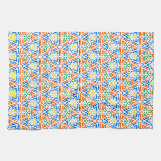 Abstract Pattern Pretty Blue Red And Yellow Tea Towel