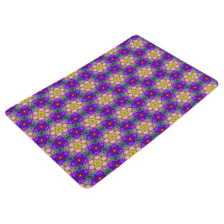 Abstract Pattern Pretty Green Lilac And Red Floor Mat