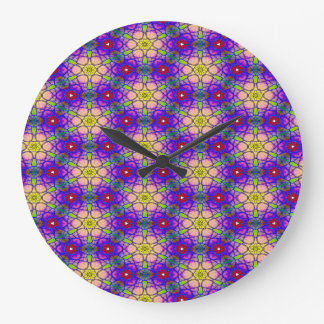 Abstract Pattern Pretty Green Lilac And Red Large Clock