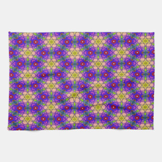 Abstract Pattern Pretty Green Lilac And Red Tea Towel