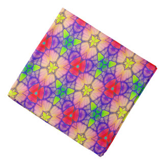 Abstract Pattern Pretty Red Green And Pink Bandana