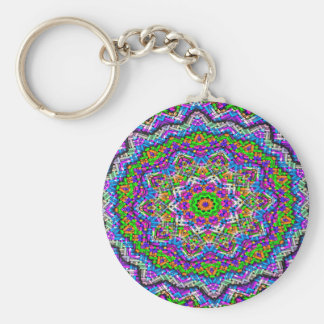 Abstract Pattern Purple And Green Radiating Star Key Ring