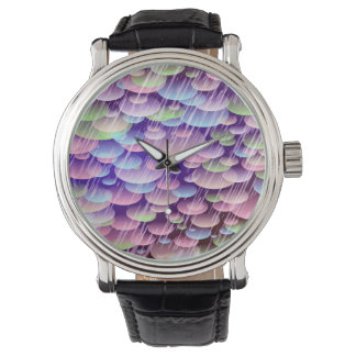 Abstract Pattern Purple Rain Clouds Wristwatches