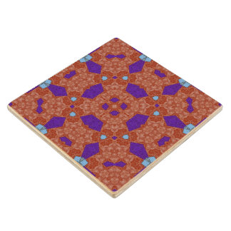 Abstract Pattern red and blue Wood Coaster