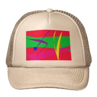 Abstract Pattern Red and Green Contrast Mesh Hats