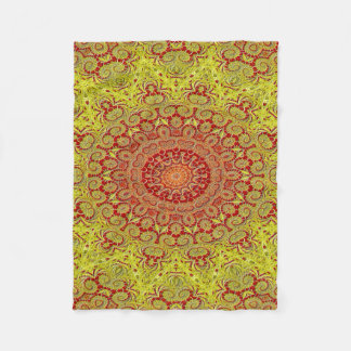 Abstract Pattern Red And Yellow Mosaic Tile Fleece Blanket