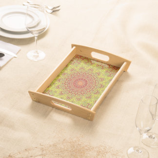 Abstract Pattern Red And Yellow Mosaic Tile Food Tray