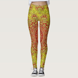 Abstract Pattern Red And Yellow Mosaic Tile Leggings