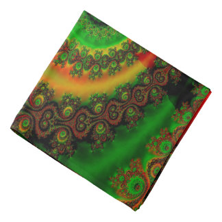 Abstract Pattern Red Green And Yellow Whirl Bandana