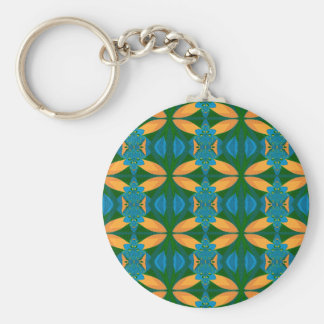 Abstract Pattern Seamless Blue Brown And Green Basic Round Button Key Ring