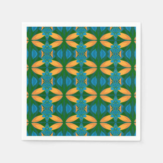 Abstract Pattern Seamless Blue Brown And Green Disposable Serviettes