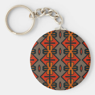 Abstract Pattern Seamless Gray And Orange Basic Round Button Key Ring