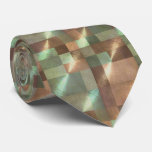 Abstract Pattern Tiles in Green and Copper Tie