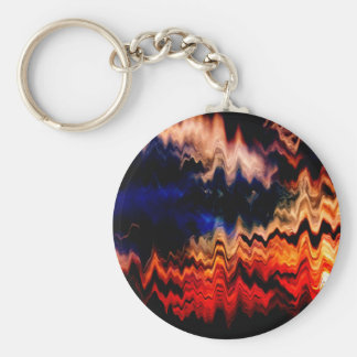 Abstract Pattern Wavy Colors Basic Round Button Key Ring