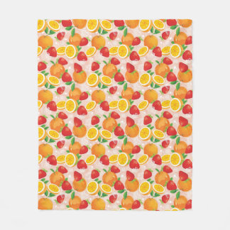 Abstract pattern with strawberry fleece blanket
