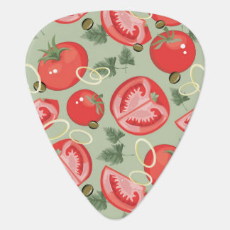 Abstract pattern with tomato guitar pick