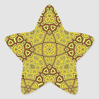Abstract Pattern yellow Star Sticker