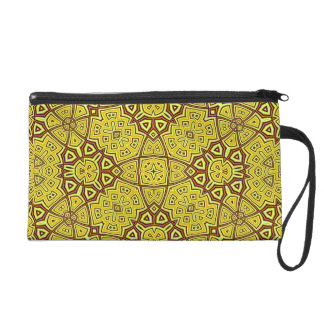 Abstract Pattern yellow Wristlet Clutch