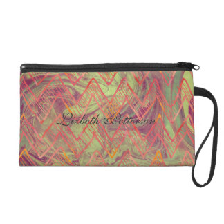 Abstract Patterns of Pinks, Purple & Greens Colors Wristlet