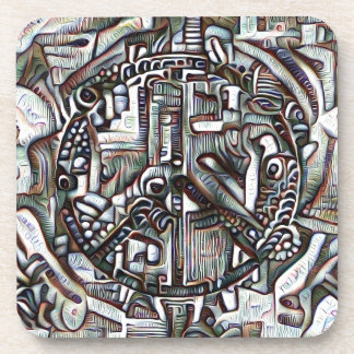 Abstract peace symbol beverage coaster