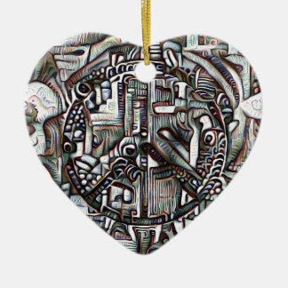 Abstract peace symbol ceramic heart decoration