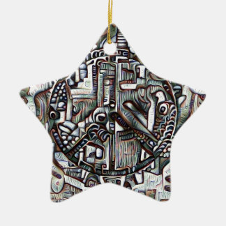 Abstract peace symbol ceramic star decoration